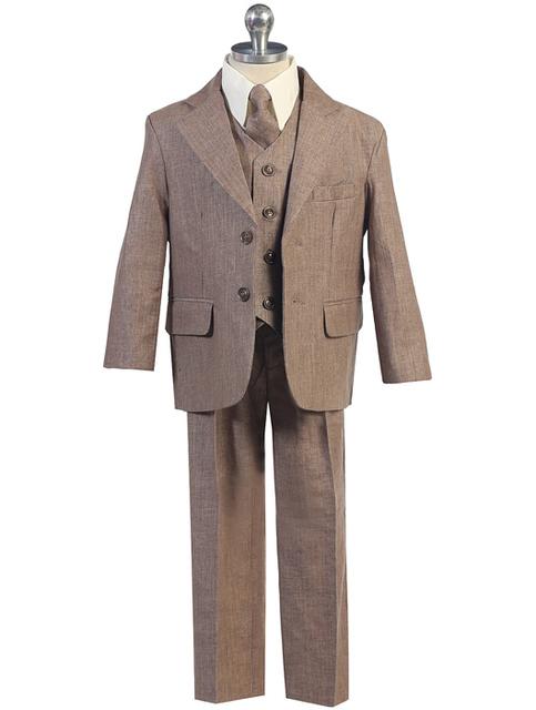 Boys Linen Suit, Khaki, CS15