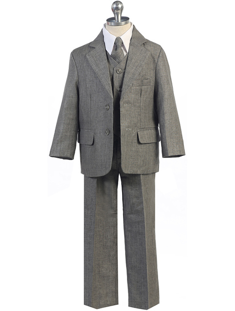 Boys Linen Suit, Charcoal, CS15