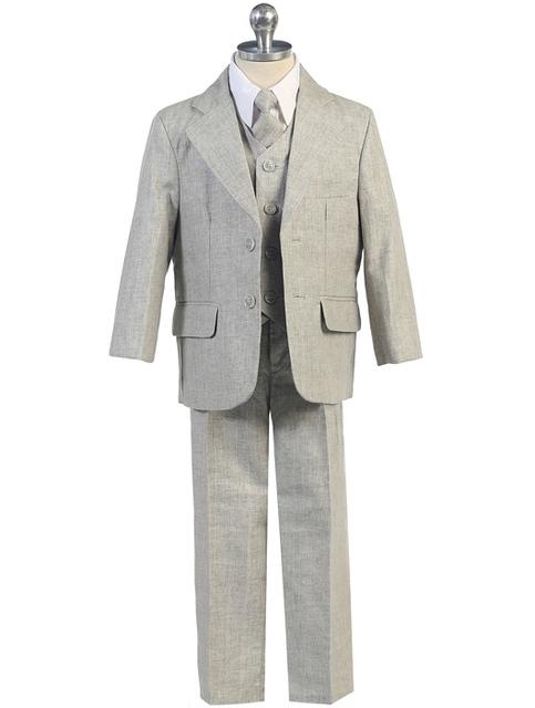 Boys Linen Suit, Grey, CS15
