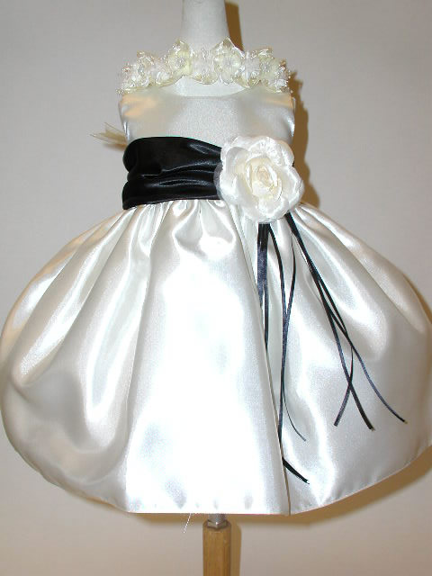 Satin Infant Dress with Sash, C300