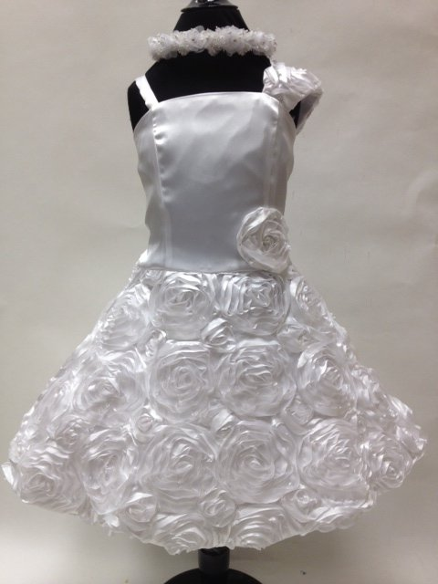 Satin Coiled Flowered Child Dress, J157