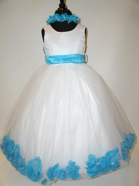 Satin & Tulle Flower Petal Gown, J2100