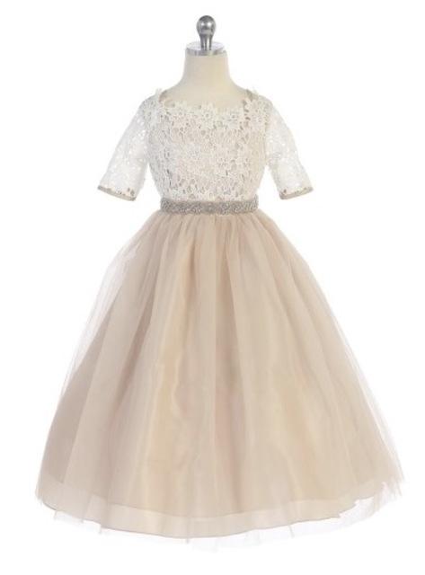 Lace & Tulle Flower Girl Dress J3794