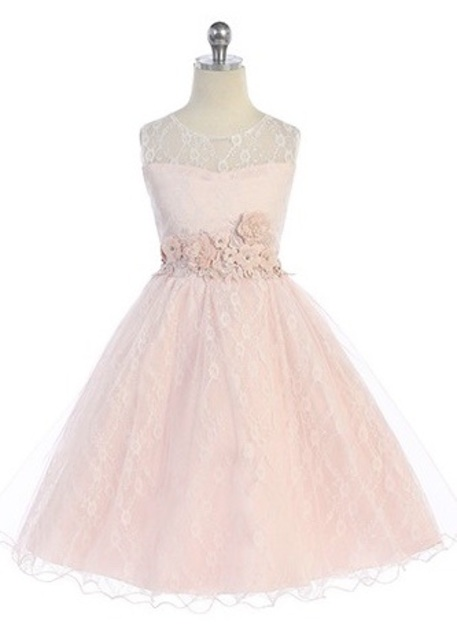 Lace Flowergirl Dress J3915, Blush
