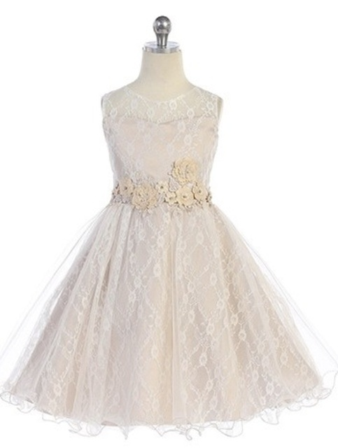 Lace Flowergirl Dress J3915, Champagne