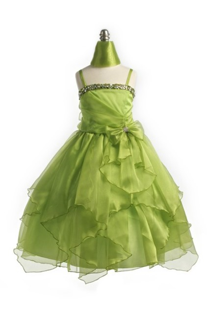 Lime Child Beaded Pageant Gown, J999