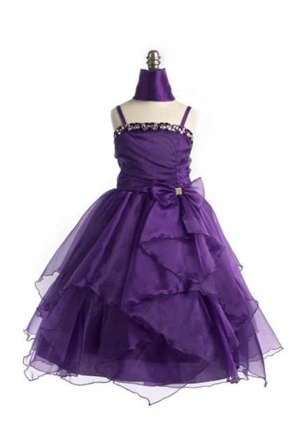 Child Beaded Chiffon Gown, J999 Purple