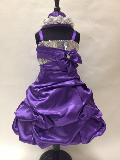 Short Satin Sequined Kids Dress, K2488