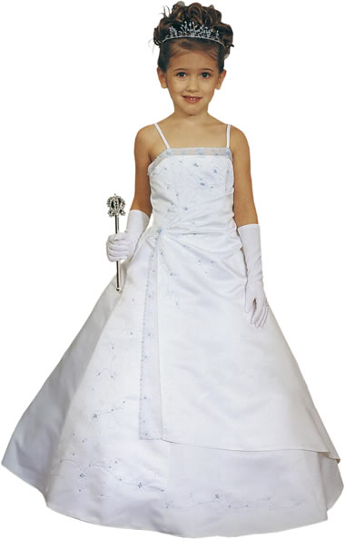 Embroidered A-Line Child Gown, MB617