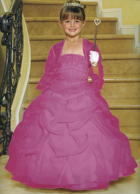 Satin & Organza Beaded Pickup Gown, MB801