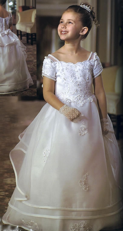 Mutli-Tiered Pearl & Beaded Child Gown, MB211