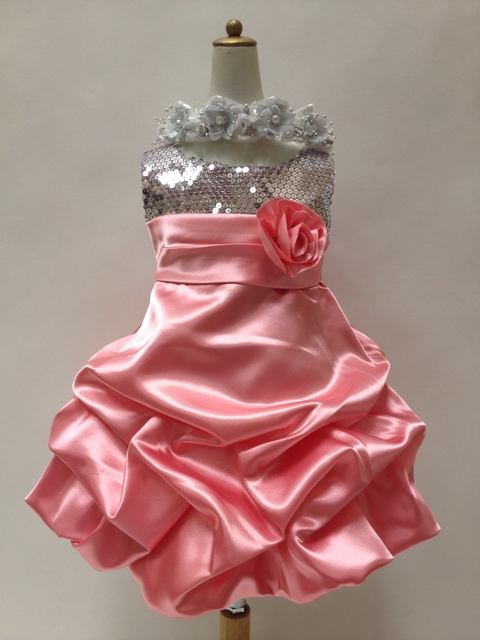 Sequined Pickup Satin Dress, KL280