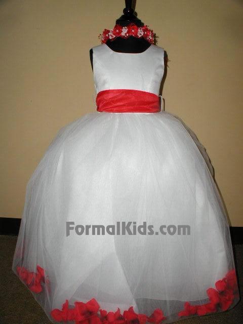 Tulle Flower Petal Dress w/Sash, J2100