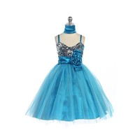 Glitzy Sequined & Tulle Child Dress, J330