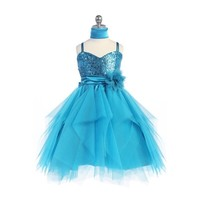 Short Sequin& Tulle Child Dress, J333