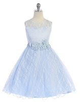 Lace Flowergirl Dress J3915, Light Blue