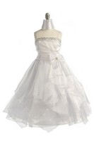 White Multi Tiered Child Formal Gown, J999
