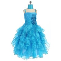 Tuquoise Tiered Child Formal Gown, J880