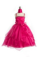 Child Beaded Tiered Formal, J999, Fuchsia