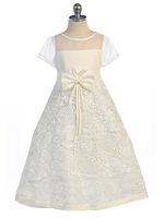 Lace & Satin Flowergirl Dress, FG2411