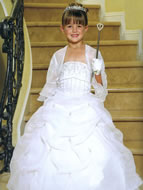 Beaded Satin & Organza Pickup Gown, MB801