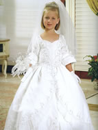 3/4 Sleeve Beaded Holy Communion Gown, MB806