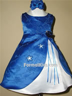 Satin Star Burst Infant Dress, KL28, Royal