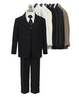 Infant & Boys Suit, Black, White, Ivory, Brown, Navy, CS11