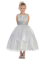 Silver Sequined Child Formal Dress, T5573