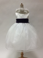 Sain & Chiffon Dress w/Sash, T743