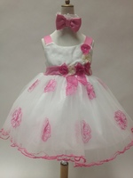 Flower Accented Tulle Child Dress, U1212