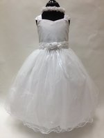 Satin Rose Accented Tulle Dress, U7100B