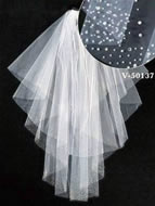 Pearl & Beaded Bridal Veil, V50137