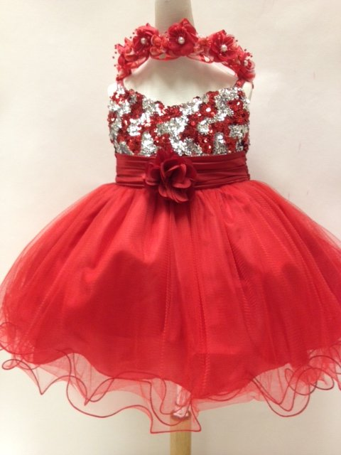 Glitzy Sequined Infant Dress T227