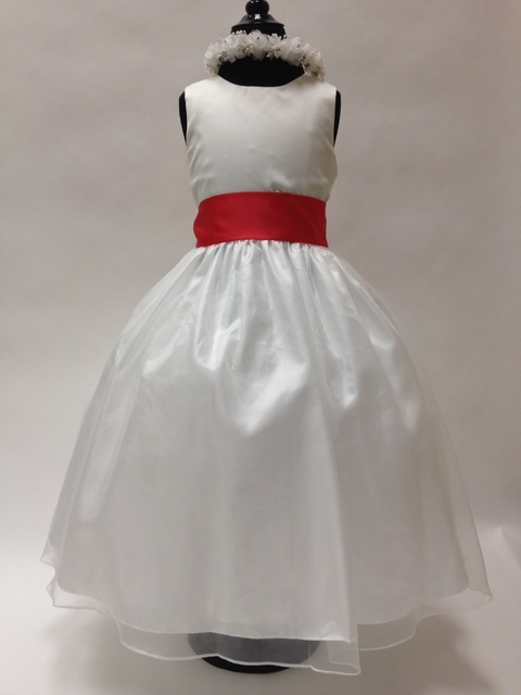 Satin & Chiffon Dress  w/Sash, T7430