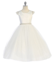 Pearl Accented Flower Girl Dress J391