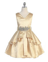 Satin Tiered Flower Girl Dress J3819