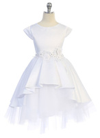 Satin & Tulle Flower Girl Dress J396