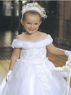 Tulle & Lace Peaded Child Gown, MB408