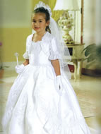 Lace Accented Tiered Skirt Communion Dress, MB804
