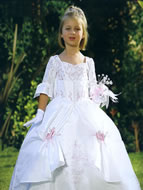 3/4 Sleeve, Beaded, Tiered Child Gown, MB805
