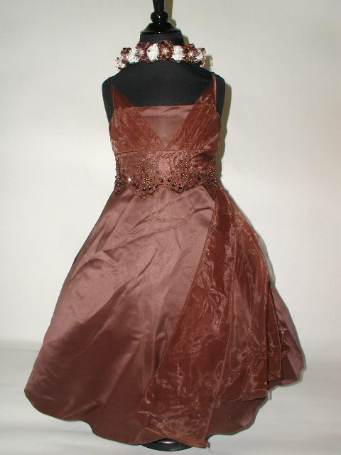 Satin & Chiffon Tea Length Dress, T77